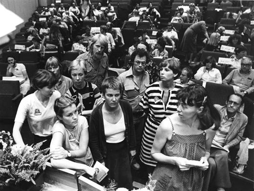 Kongressarbete med röstning på SFL:s kongress 1980. Foto Allan Myrman