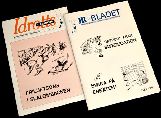 Omslag till medlemstidningen Idrottsläraren december, 1989 och dess föregångare IR-bladet (oktober, 1988).